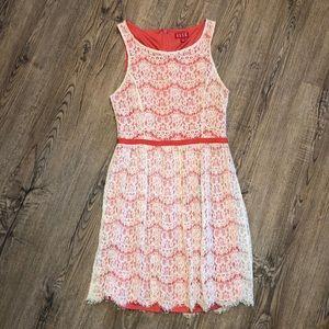 Elle Sleveless Midi Dress w/ Lace Overlay - Size 4